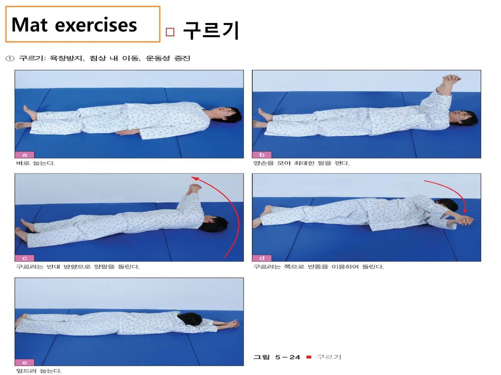 Mat exercises 구르기. 기준: C6이하 손상자에서는 구르는 방향의 전완을 침대의 측방 난간에 걸쳐 강하게 당기고 가능하다.