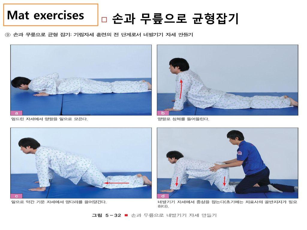 Mat exercises 손과 무릎으로 균형잡기