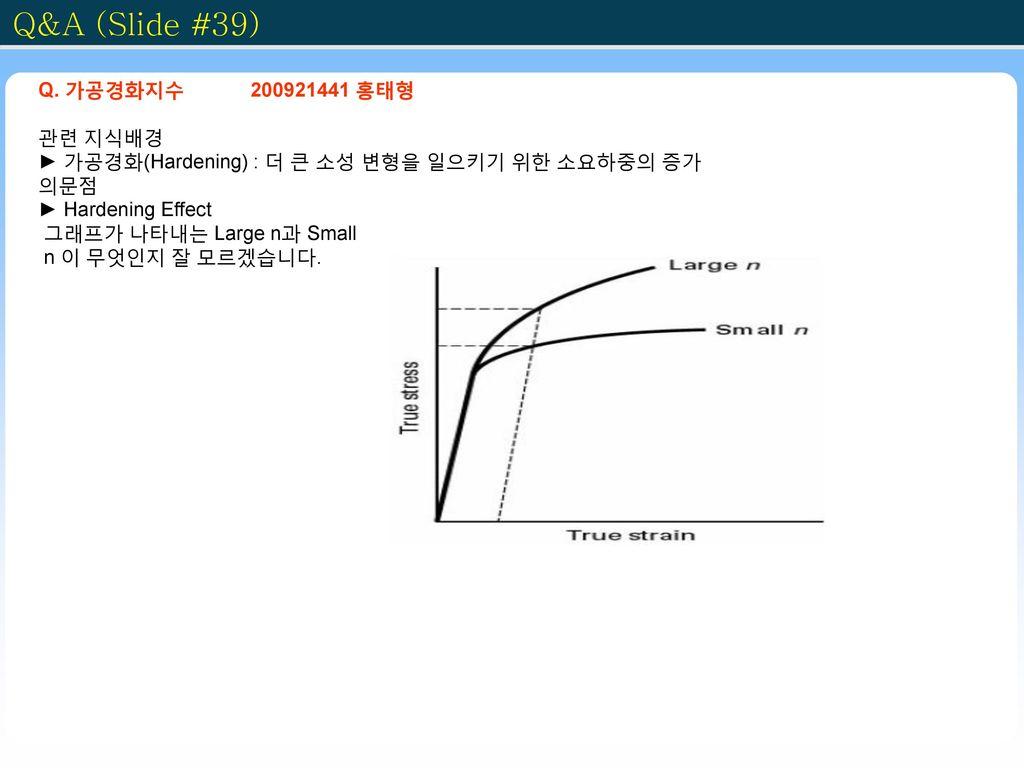 Q&A (Slide #39) Q. 가공경화지수 200921441 홍태형 관련 지식배경