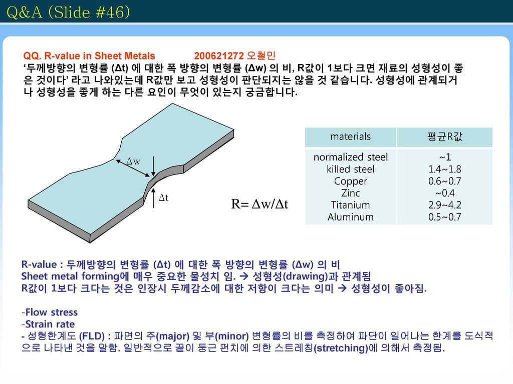 Q&A (Slide #46) R= Δw/Δt QQ. R-value in Sheet Metals 200621272 오철민