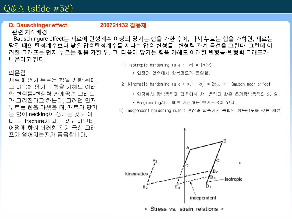 Q&A (slide #58) Q. Bauschinger effect 200721132 김동재 관련 지식배경
