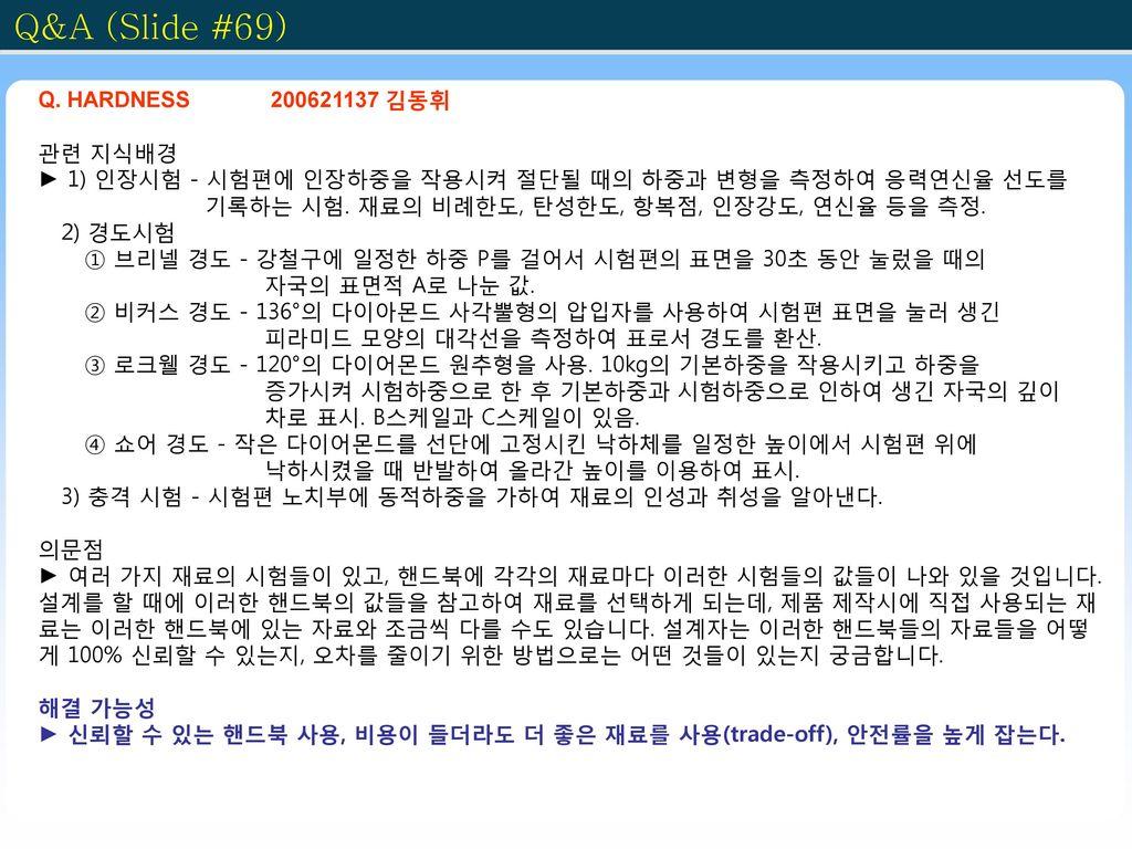 Q&A (Slide #69) Q. HARDNESS 200621137 김동휘 관련 지식배경