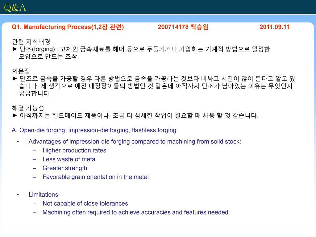 Q&A Q1. Manufacturing Process(1,2장 관련) 200714178 백승원 2011.09.11
