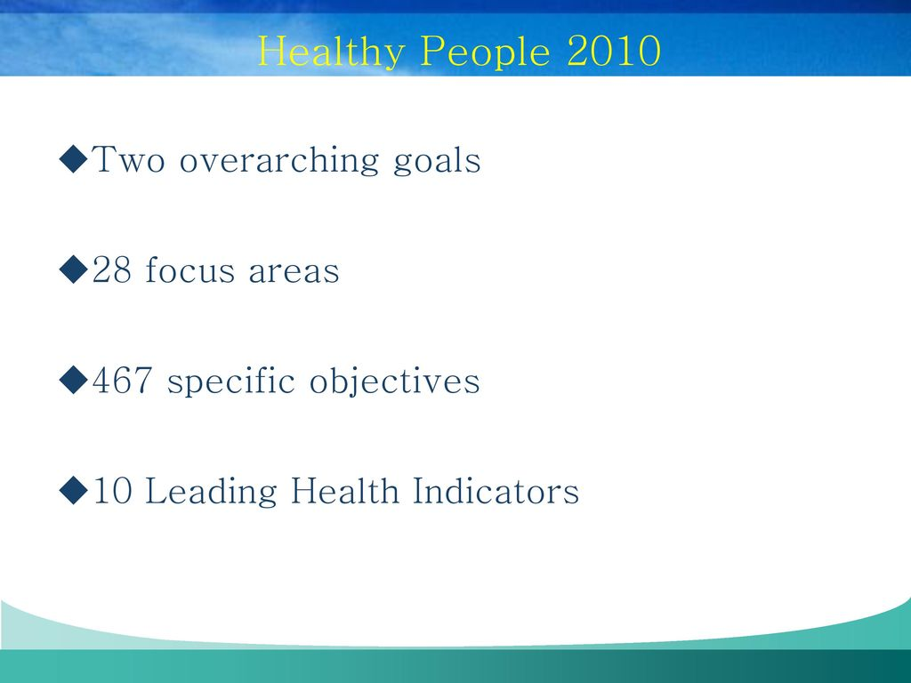 "what is healthy people 2010 The healthy people process may have gone too far down the road towards ""national objectives for all by the year 2000"" to allow a wholesale change in the direction of healthy people 2010 if this is the case, then we will have to wait another decade—until planning for the 2020 objectives begins—for significant change in the process."