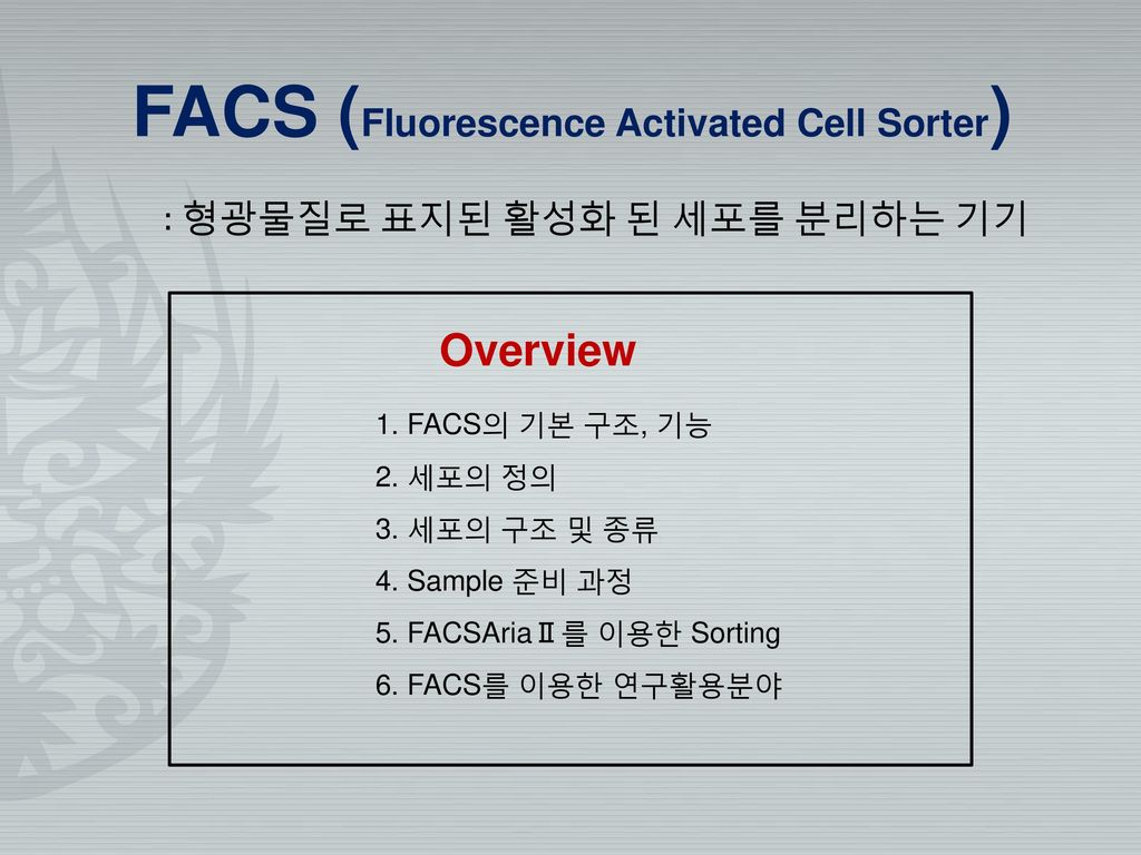 FACS (Fluorescence Activated Cell Sorter)