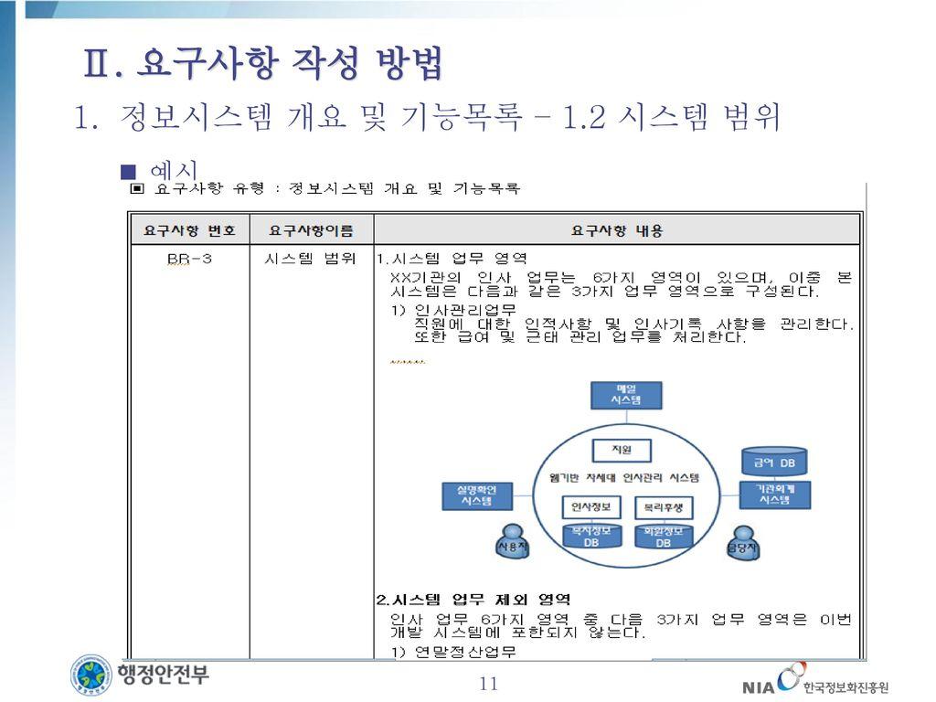 Ⅱ. 요구사항 작성 방법 정보시스템 개요 및 기능목록 – 1.2 시스템 범위 예시