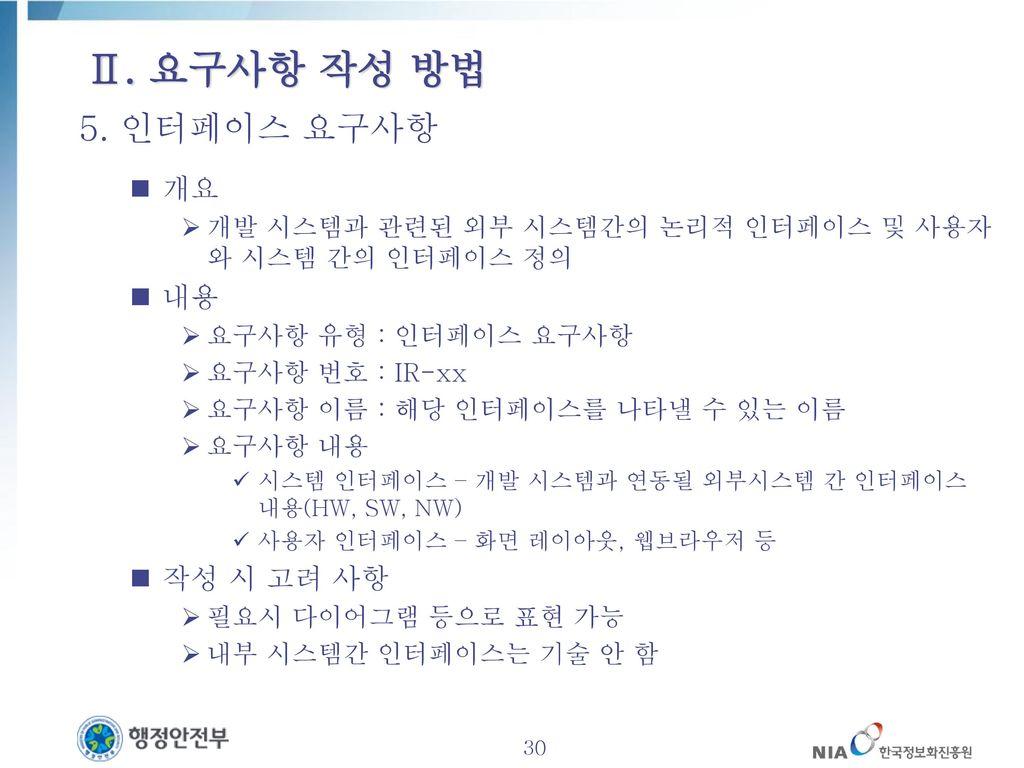 Ⅱ. 요구사항 작성 방법 5. 인터페이스 요구사항 개요 내용 작성 시 고려 사항