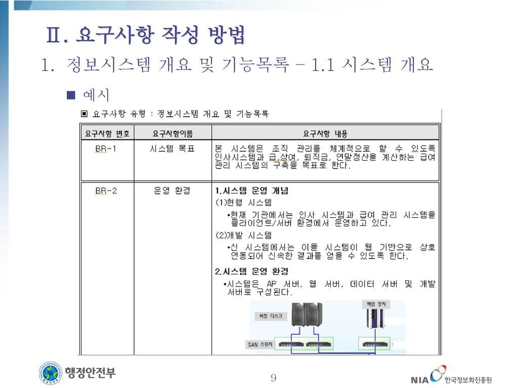Ⅱ. 요구사항 작성 방법 정보시스템 개요 및 기능목록 – 1.1 시스템 개요 예시