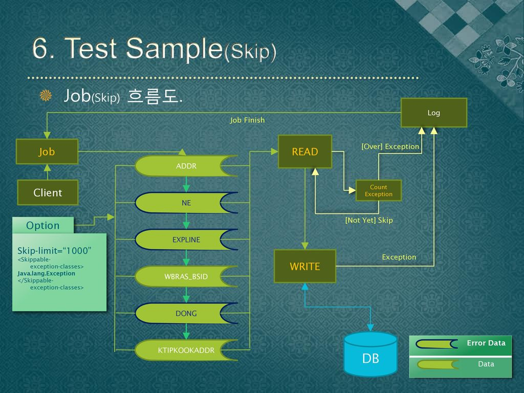 6. Test Sample(Skip) Job(Skip) 흐름도. DB READ Job Client Option WRITE