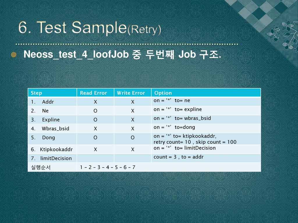 6. Test Sample(Retry) Neoss_test_4_loofJob 중 두번째 Job 구조. Step