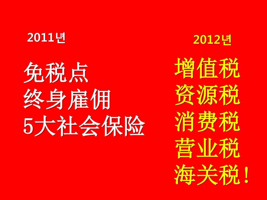 2011년 2012년 增值税 资源税 消费税 营业税 海关税! 免税点 终身雇佣 5大社会保险