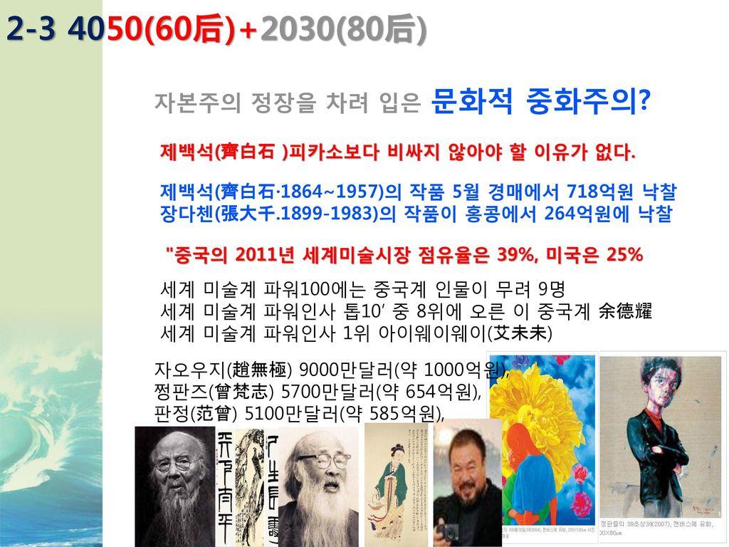 2-3 4050(60后)+2030(80后) 자본주의 정장을 차려 입은 문화적 중화주의