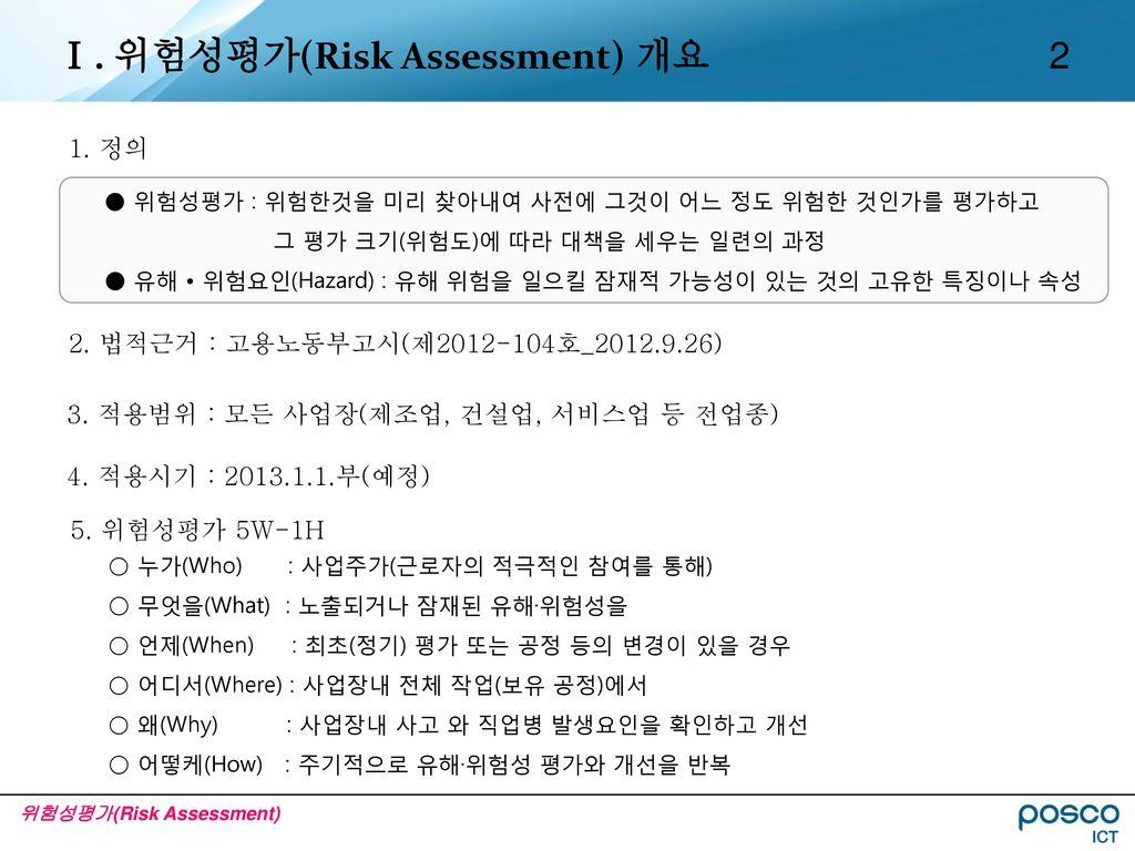 Ⅰ. 위험성평가(Risk Assessment) 개요