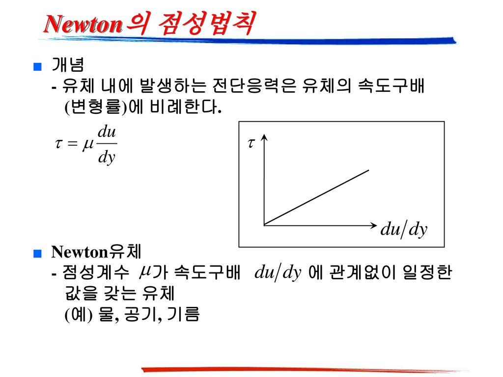 Newton의 점성법칙 개념 - 유체 내에 발생하는 전단응력은 유체의 속도구배 (변형률)에 비례한다.