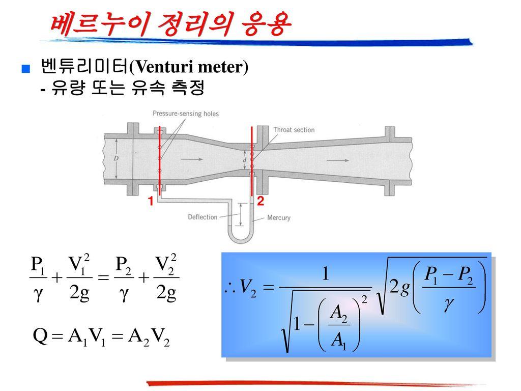 베르누이 정리의 응용 벤튜리미터(Venturi meter) - 유량 또는 유속 측정 1 2