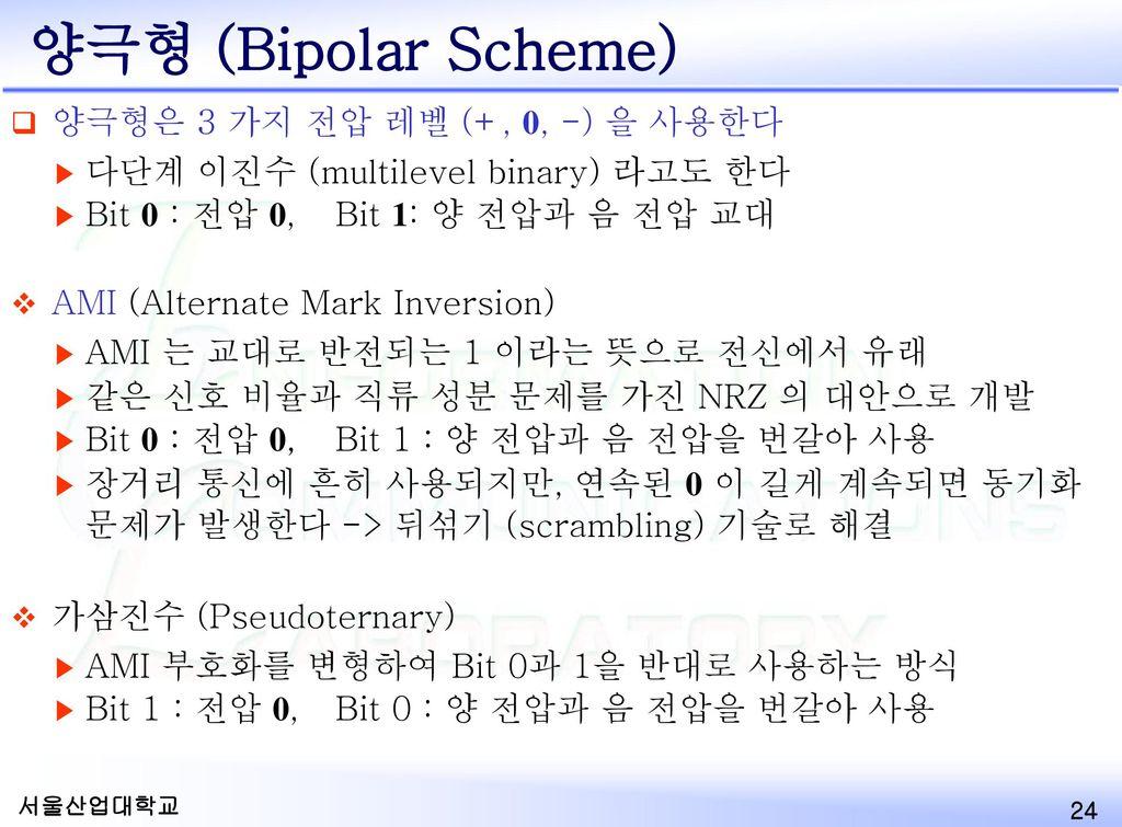 양극형 (Bipolar Scheme) 양극형은 3 가지 전압 레벨 (+, 0, -) 을 사용한다