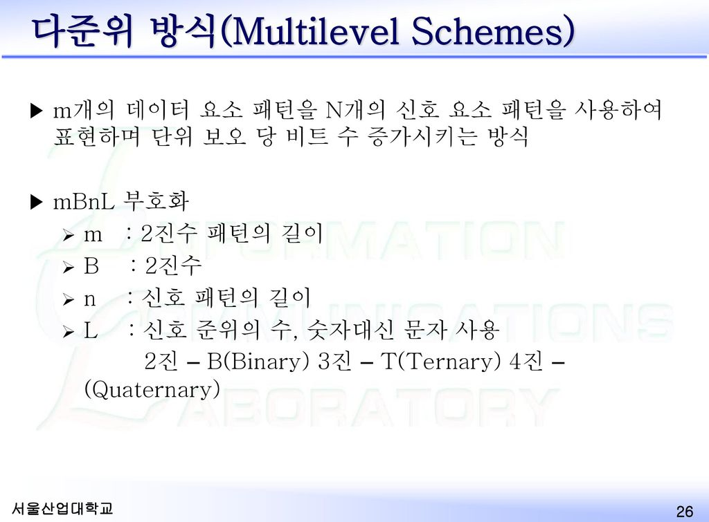 다준위 방식(Multilevel Schemes)