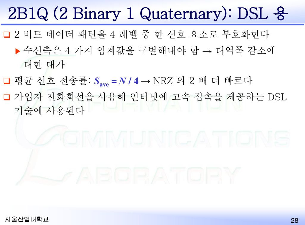 2B1Q (2 Binary 1 Quaternary): DSL 용