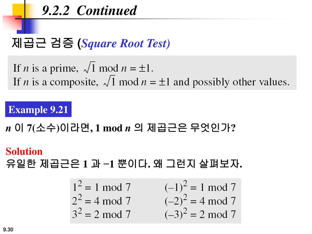 9.2.2 Continued 제곱근 검증 (Square Root Test) Example 9.21