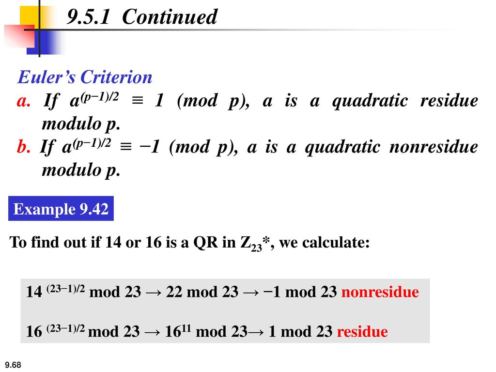 9.5.1 Continued Euler's Criterion