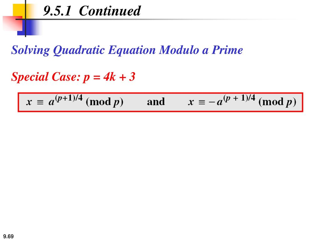 9.5.1 Continued Solving Quadratic Equation Modulo a Prime