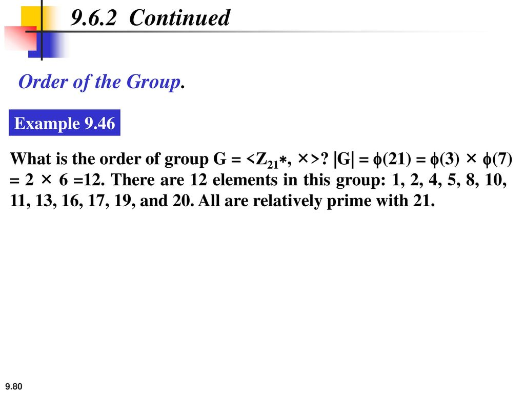 9.6.2 Continued Order of the Group. Example 9.46