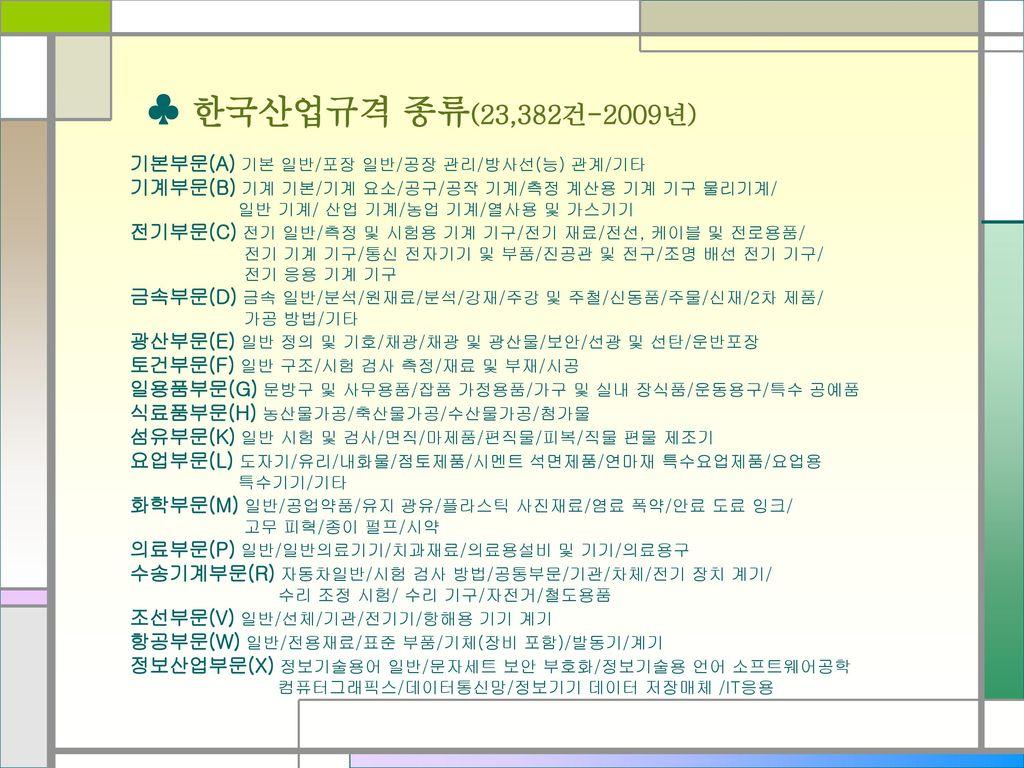 ♣ 한국산업규격 종류(23,382건-2009년) 기본부문(A) 기본 일반/포장 일반/공장 관리/방사선(능) 관계/기타