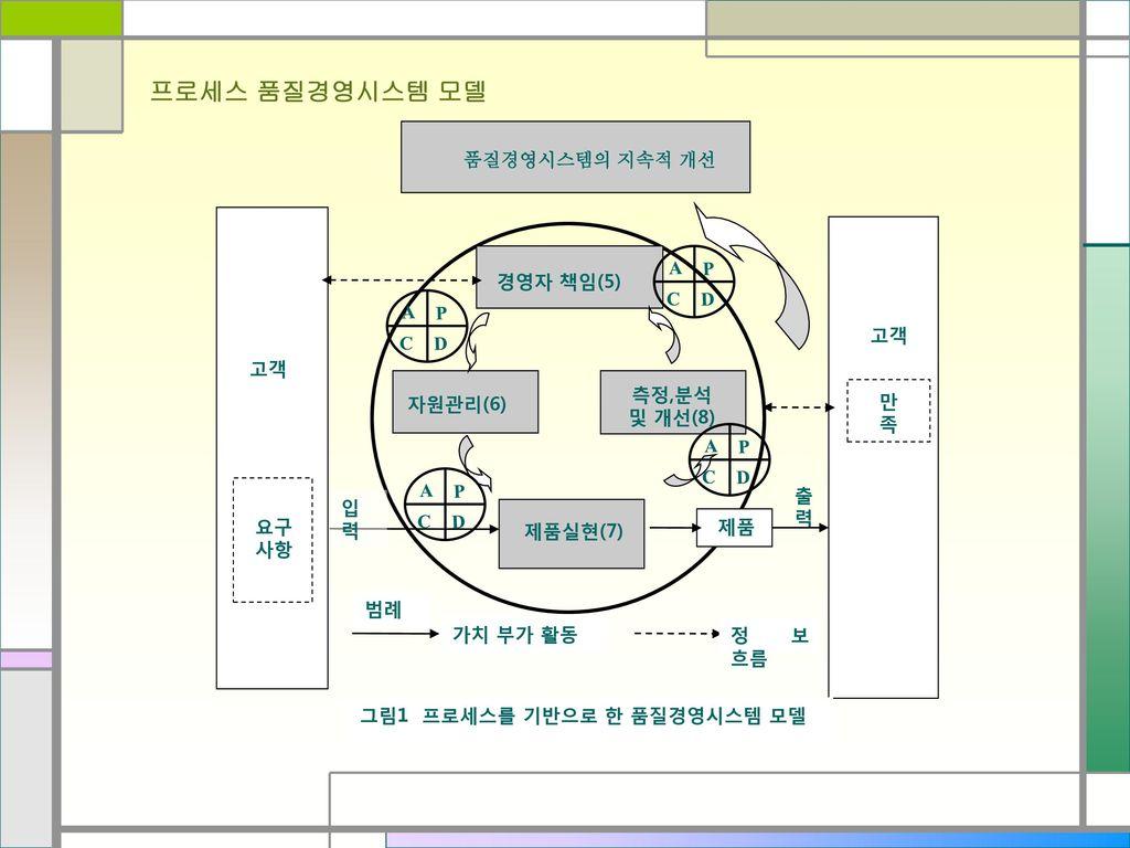 프로세스 품질경영시스템 모델 품질경영시스템의 지속적 개선 P D C A 경영자 책임(5) P D C A 고객 고객 측정,분석