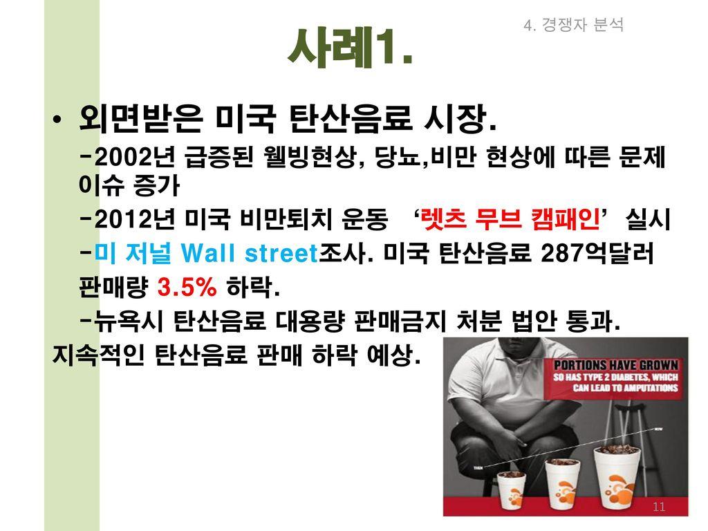 사례1. 외면받은 미국 탄산음료 시장. -2012년 미국 비만퇴치 운동 '렛츠 무브 캠패인'실시