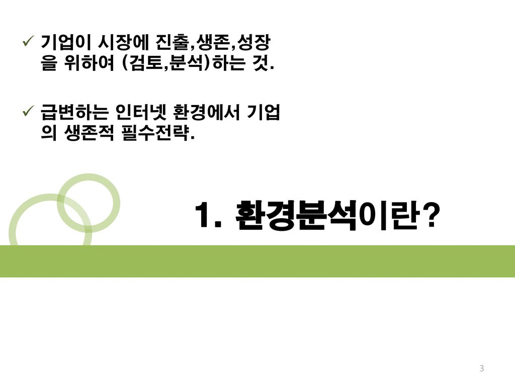 1. 환경분석이란 기업이 시장에 진출,생존,성장을 위하여 (검토,분석)하는 것.
