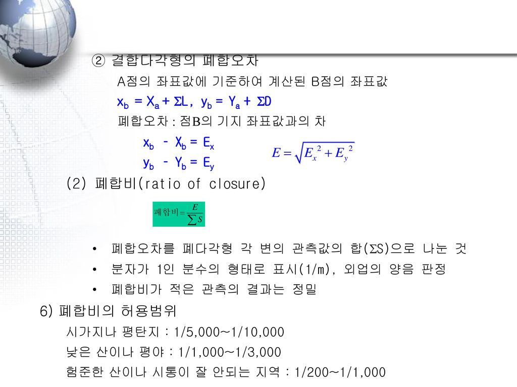(2) 폐합비(ratio of closure)