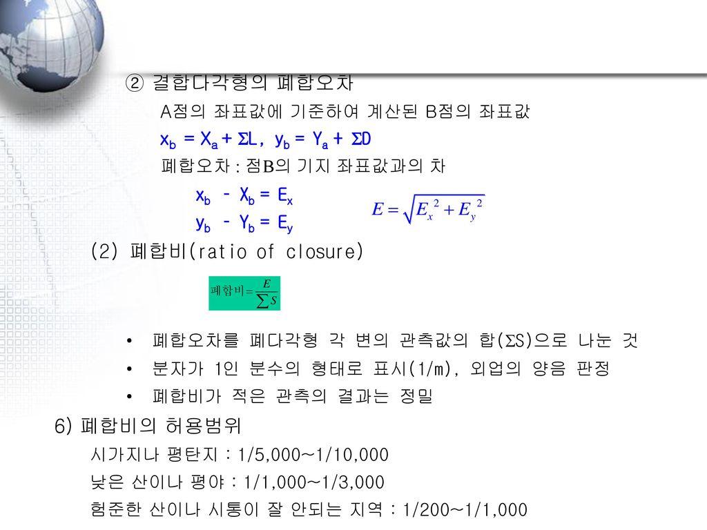 (2) 폐합비(ratio of closure)