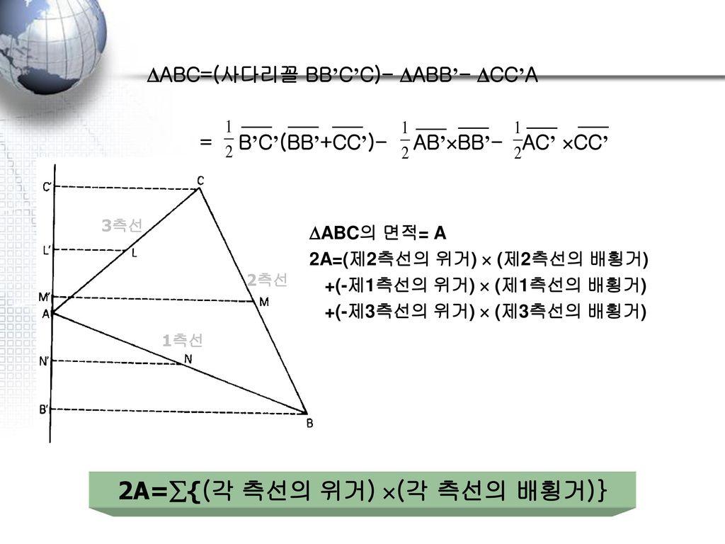 배횡거법 MM'= (BB') NN'= (BB'+CC') NN'= N'P+PQ+QN = MM'+ (BB')+ (CC'') A M