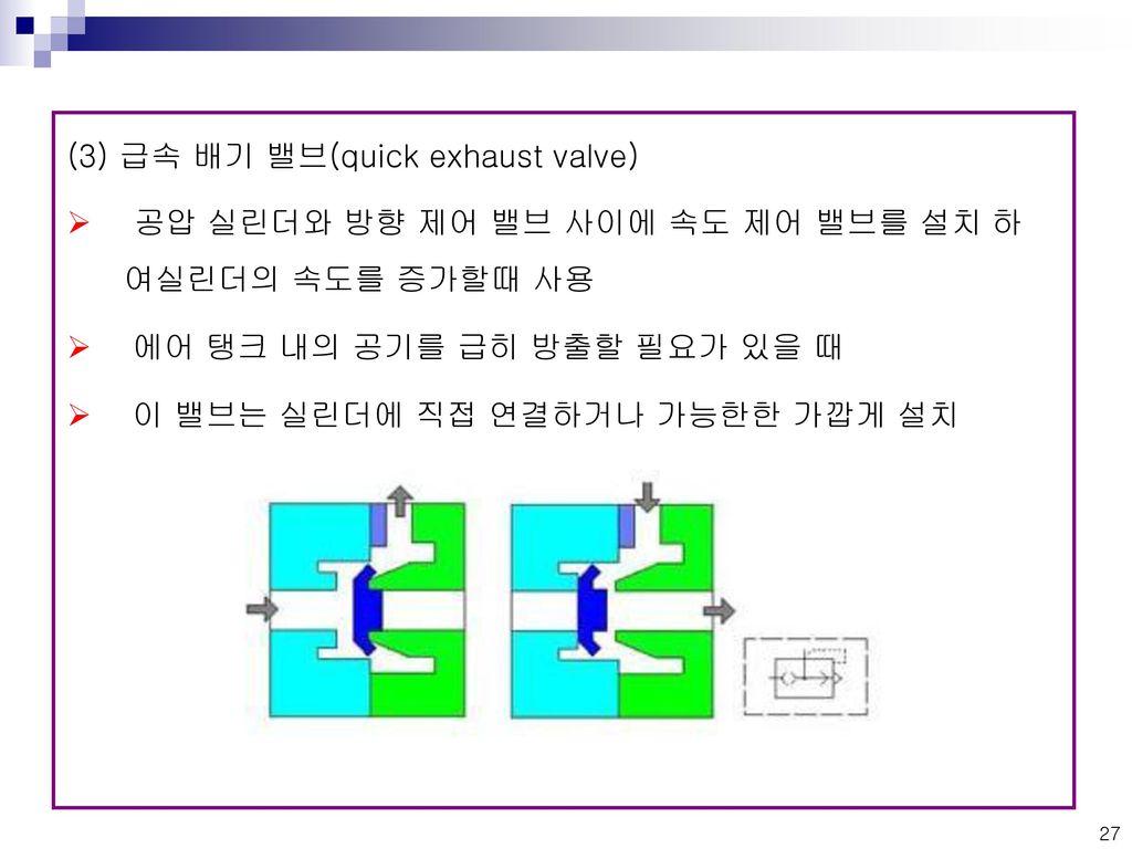(3) 급속 배기 밸브(quick exhaust valve)