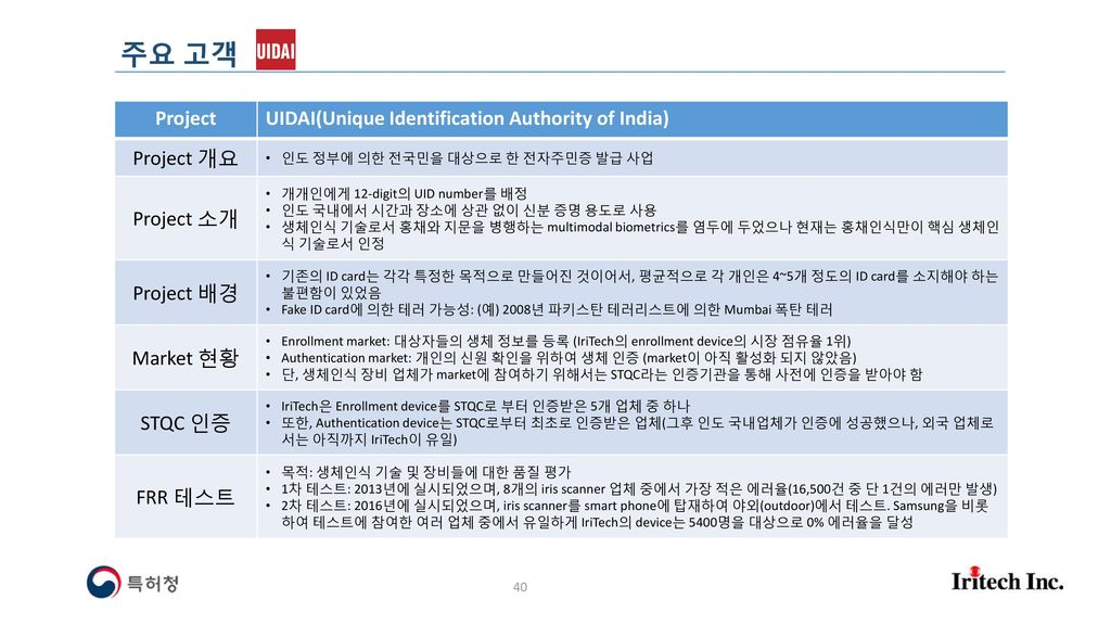 주요 고객 Project UIDAI(Unique Identification Authority of India)