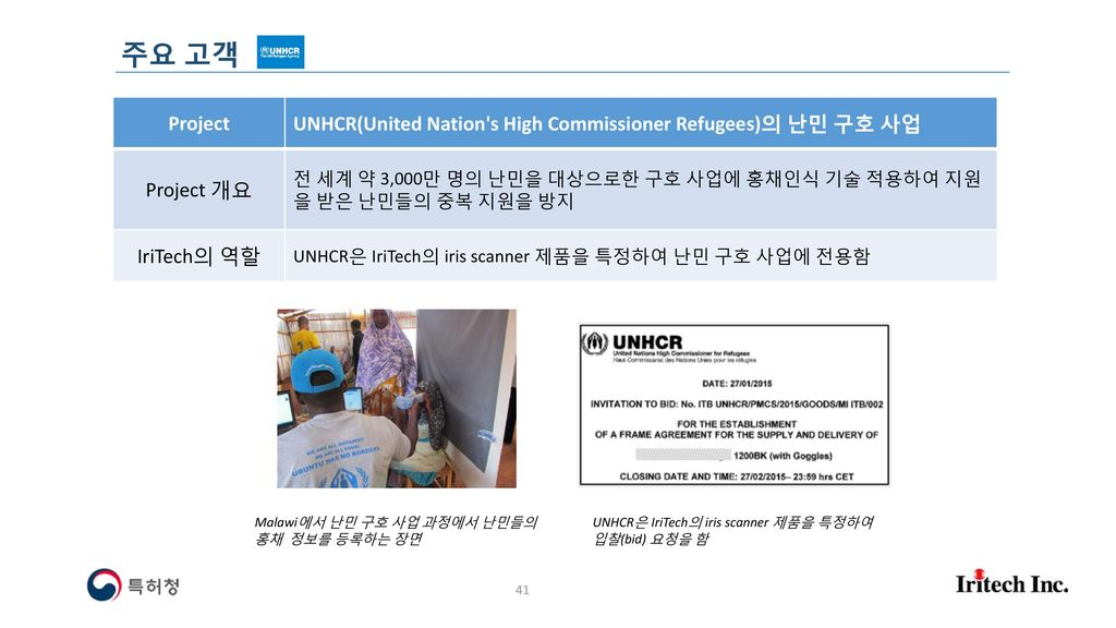 주요 고객 Project. UNHCR(United Nation s High Commissioner Refugees)의 난민 구호 사업. Project 개요.