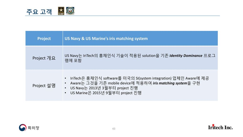 주요 고객 Project US Navy & US Marine s iris matching system Project 개요