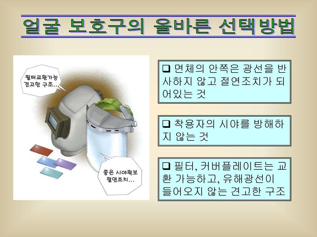 얼굴 보호구의 올바른 선택방법 면체의 안쪽은 광선을 반사하지 않고 절연조치가 되어있는 것 착용자의 시야를 방해하지 않는 것
