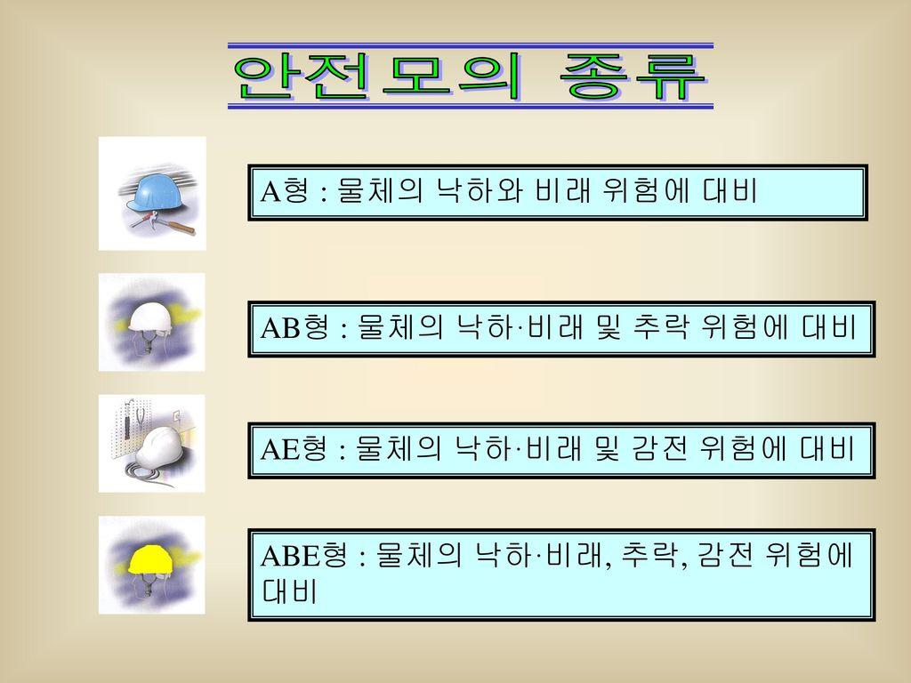 안전모의 종류 A형 : 물체의 낙하와 비래 위험에 대비 AB형 : 물체의 낙하·비래 및 추락 위험에 대비