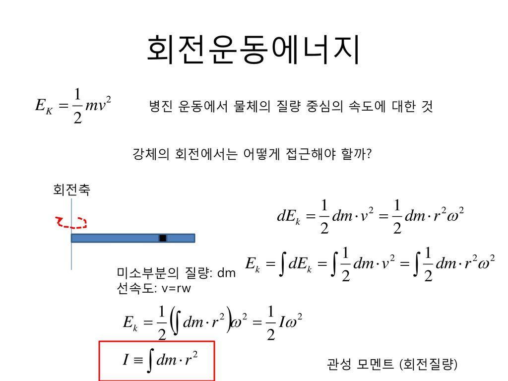 회전운동에너지 병진 운동에서 물체의 질량 중심의 속도에 대한 것 강체의 회전에서는 어떻게 접근해야 할까 회전축