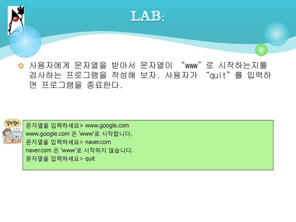 LAB: 사용자에게 문자열을 받아서 문자열이 www 로 시작하는지를 검사하는 프로그램을 작성해 보자. 사용자가 quit 를 입력하면 프로그램을 종료한다. 문자열을 입력하세요> www.google.com.