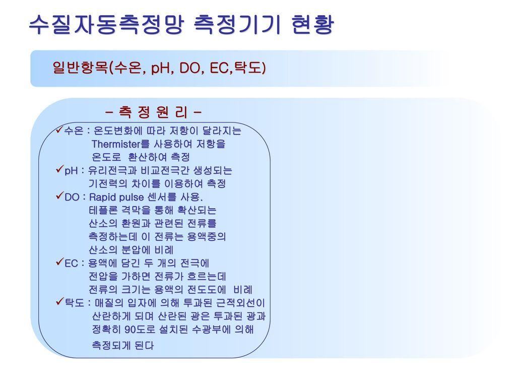 수질자동측정망 측정기기 현황 일반항목(수온, pH, DO, EC,탁도) - 측 정 원 리 -