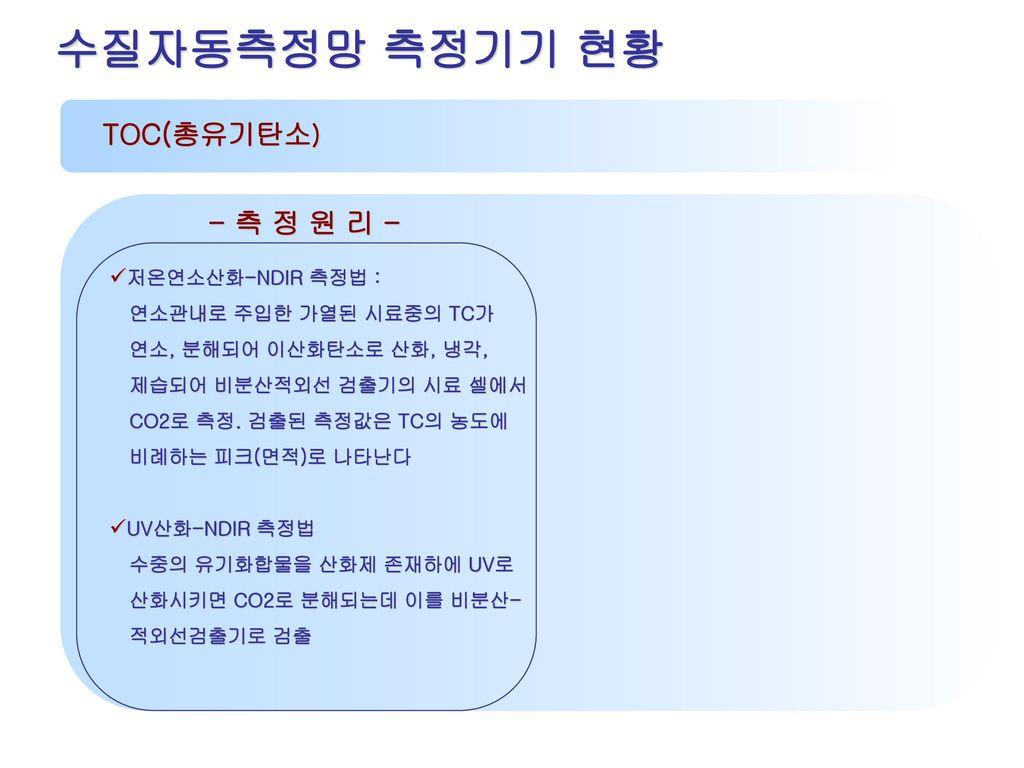 수질자동측정망 측정기기 현황 TOC(총유기탄소) - 측 정 원 리 - 저온연소산화-NDIR 측정법 :