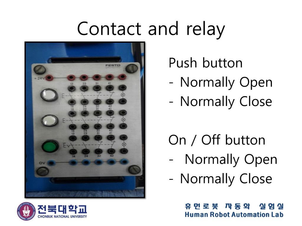 Contact and relay Push button Normally Open Normally Close