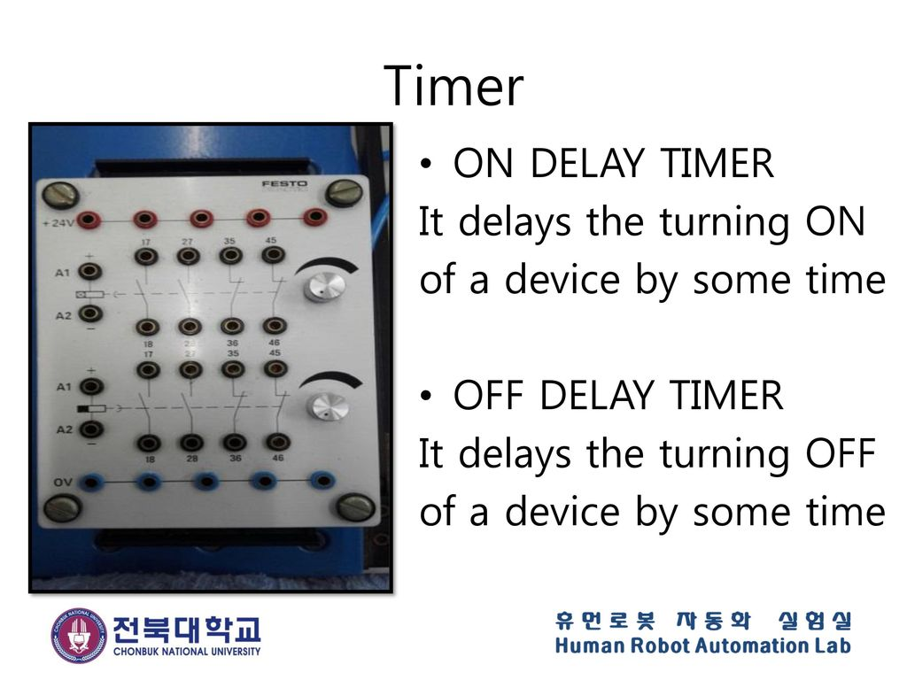 Timer ON DELAY TIMER It delays the turning ON of a device by some time