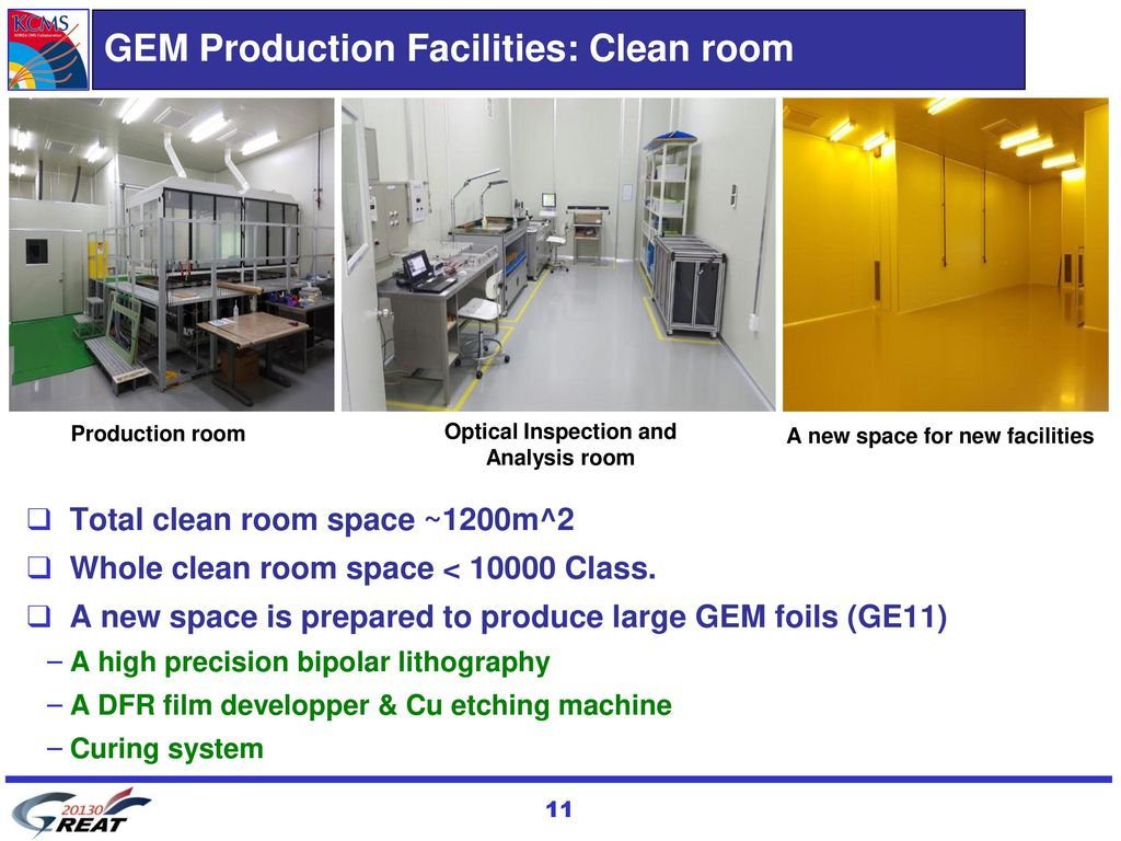 GEM Production Facilities: Clean room