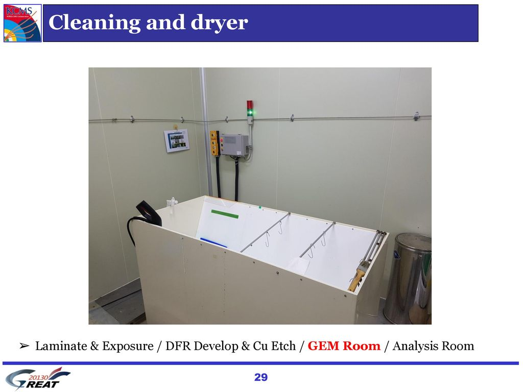 Cleaning and dryer Laminate & Exposure / DFR Develop & Cu Etch / GEM Room / Analysis Room. 박인규 설명)