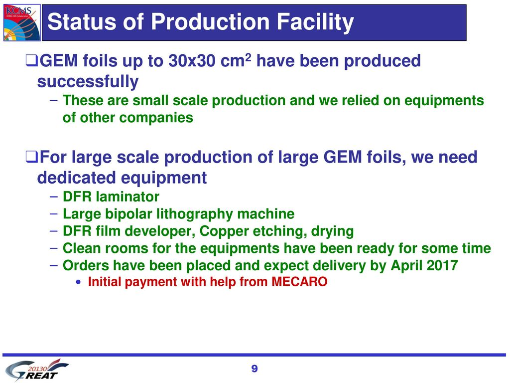 Status of Production Facility