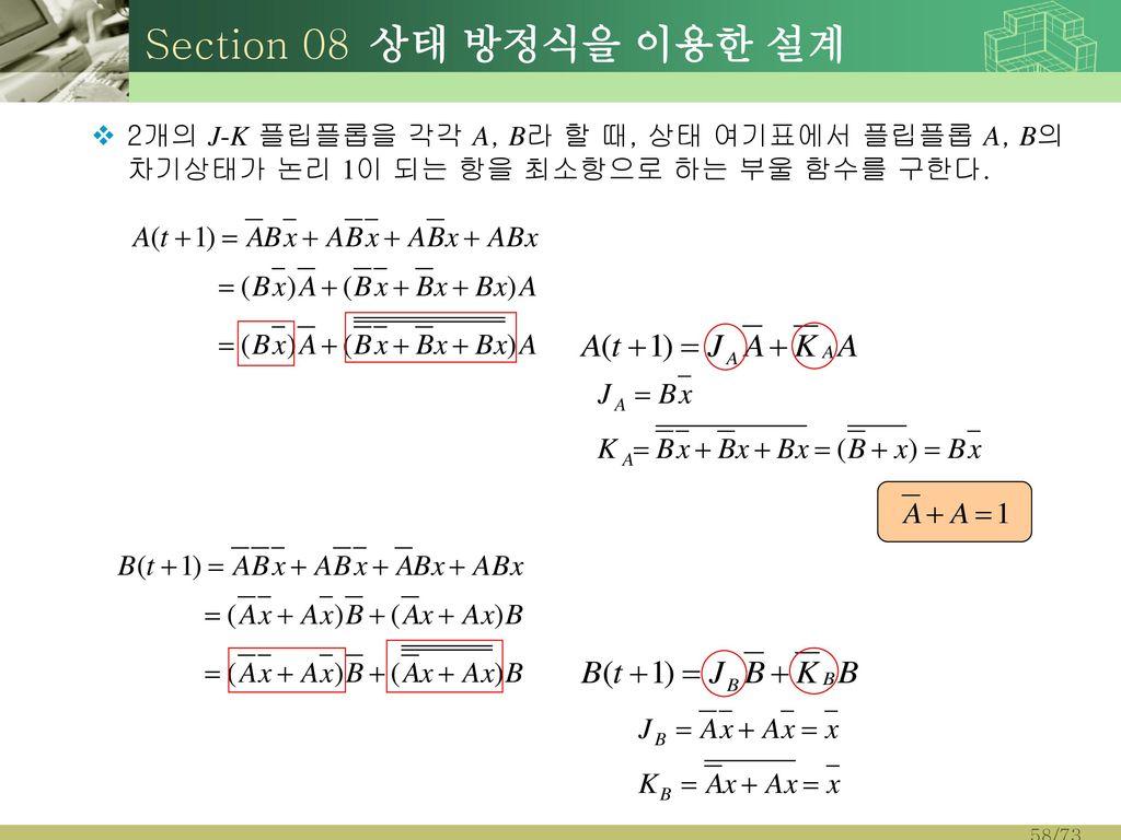 Section 08 상태 방정식을 이용한 설계 2개의 J-K 플립플롭을 각각 A, B라 할 때, 상태 여기표에서 플립플롭 A, B의 차기상태가 논리 1이 되는 항을 최소항으로 하는 부울 함수를 구한다.