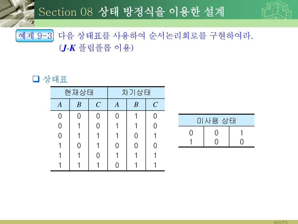 Section 08 상태 방정식을 이용한 설계 예제 9-3 다음 상태표를 사용하여 순서논리회로를 구현하여라.